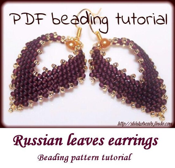 Russian leaf earrings with pearl Beading Pattern by