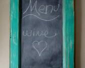 Distressed Teal Chalkboard//Upcycled Door