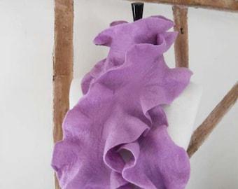 Felted Scarf Ruffle Collar Felt Ruffle Scarf Neck Warmer Purple lavender Scarves