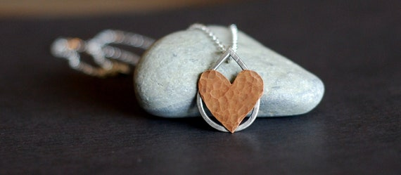 Heart Necklace. Suspended Love no 27. Valentines Day. Copper Hammered Heart Necklace. Rustic Jewelry. Mixed Metal.