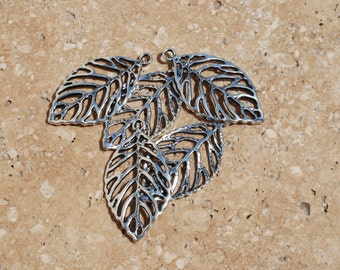 Skeleton Leaf, Filigree Leaf, Antique Bronze or Silver. - 10 count