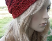 Dark Red Burgundy Winter Fall Soft Slouchy Airy Design City Beanie