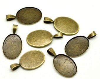 Bronze Cabochon Settings (Holds 18x13mm) Oval Charms - 26x14mm - 10pcs - Ships Immediately from California - BC395