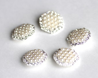 SALE 5 Pearl Buttons with Rhinestones - 20mm - Metal Embellishments - Wedding Accessory - Ships IMMEDIATELY  from California - RB01