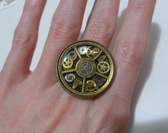 Steampunk Gear Ring Adjustable