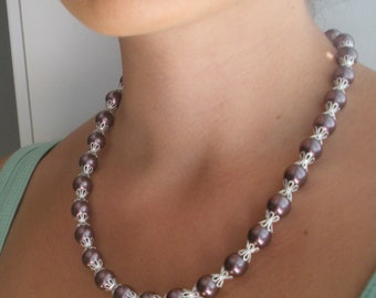 SALE FREE SHIPPING Swarovski Burgandy Pearl Necklace and Earrings