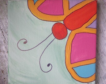 Peek-a-boo Animal canvas painting - butterfly