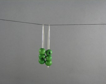 Jade Green Earrings Sterling Silver and Acai Modern Earwire