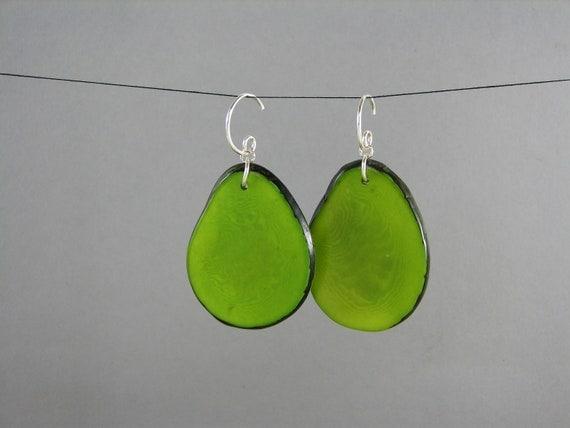 TAGUA JEWELRY Large Green Tagua Earrings