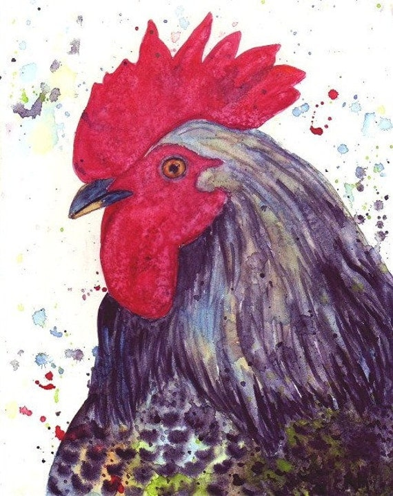 Rooster -  Contemporary Home Decor, House warming gift  by ebsq Artist Ricky Martin FREE SHIPPING