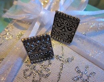 Antique Silver Tone Square Vintage Earrings