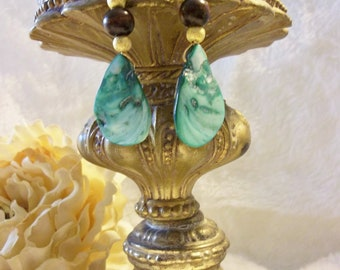 Emerald Green Mother of Pearl Earrings with Glass  and Wood Bead Accents