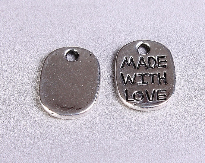 15 Made with love charm pendant silver color 15pcs (766) - Flat rate shipping