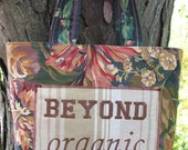 Beyond Organic Tote made from Recycled Material - Bright Fall Colors Red/Blue/Gold - Embroidery - Applique - Sturdy - 4-Bag Set - LandFallFarm