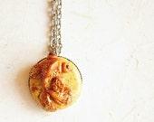 Sparkle Gold Goldfish Necklace, 0.71 inches pendant
