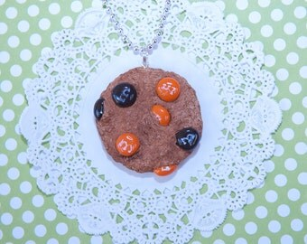 Chocolate Cookie Necklace-Cookie-Necklaces-Chocolate-Kawaii-Orange And Black-Halloween