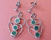 Reserved: Charming Little Vintage Sterling Silver Earrings with Overlapping Hearts Set with Green Turquoise