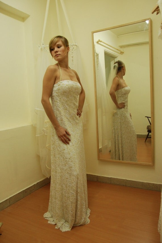 Items similar to boho wedding dress strapless backless for Tight fitting wedding dresses