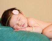 Pink Rose Baby Tieback Bow Headband - Photo prop -Tie Back- Newborn/Baby Halo- Skinny Headband- Newborn Headband