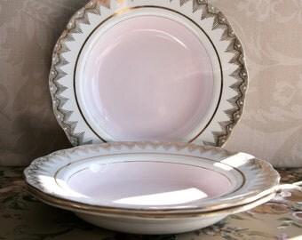 Gorgeous Vintage Imperial Pink and Gilt Soup/Dessert Bowl, 22 Kt Gold
