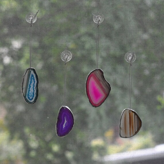 Agate Geode Ornament - group 1 - purple agate - pink agate - natural agate - blue agate - silver edge - eco friendly