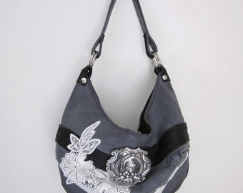 Spartan Buckle Leather & Lace Hobo