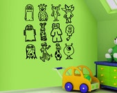 Monsters wall decal - removable multiple Monsters decal  set of 12 monster- boys room/ nursery decal