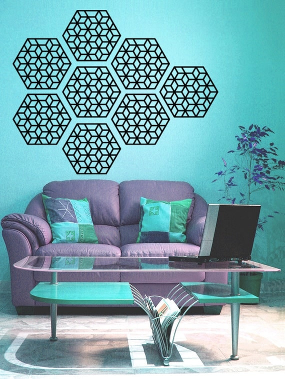 Geometric pattern wall decal set of 8 wall decals