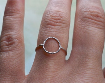 Sterling Silver Karma Ring with Rope Detail, Eternity Ring, Infinity Ring, Stacking Ring - custom made to order