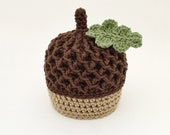 Autumn Acorn hat with leaf, photo prop, baby, fall, nut, Crochet By Allie Original Design