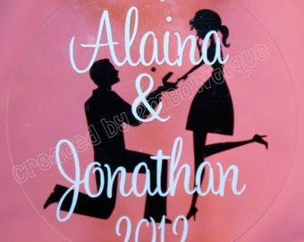 Great Engagement Gift. Personalized Christmas Ornament for Engagement/Engaged Couple, Clear Acrylic Disc