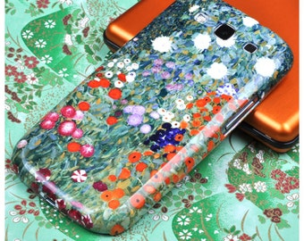 "Gustav Klimt Samsung Galaxy Phone Case for S5, S6, S7, Edge, S8, S8 PLUS. ""Bauenrgarten"". Flower Garden painting. Red, orange and green."