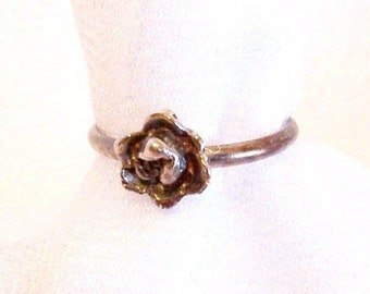 Vintage Sterling Silver Rose Ring: Size 7 3/4 - D0017