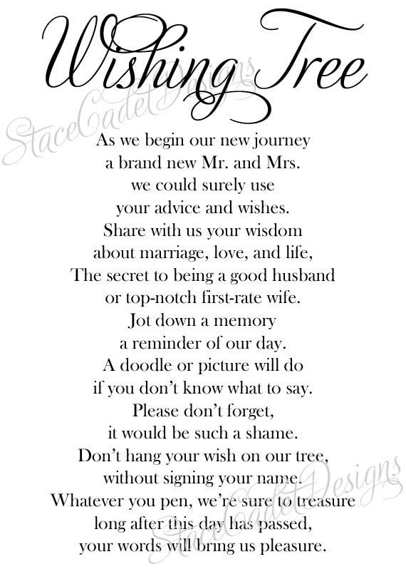Items Similar To Custom Printable Wedding Wishing Tree Sign Digital File On Etsy