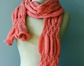 Coral Smocked Scarf - Hand Knit Scarf with Ruffles