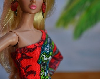 MADE TO ORDER - Asymmetrical Neckline Top in Red Paisley for Sixth-scale Dolls