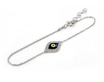 Free Domestic Shipping Sterling Silver Dark Blue Evil Eye Bracelet Silver, Sterling, Blue, CZ, Cubic Zirconia, Eye, Modern, Vintage, Unique