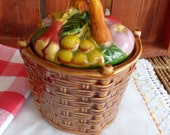 Basket of Fruit Bowl Jam Pot, Occupied Japan Jelly Jar, Ceramic Jam Container