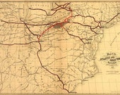 Atlantic and Great Western Railway 1866 - Antique Railroad Map. Printable Map. Instant digital download.