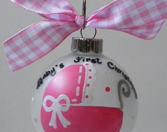 Baby's First Christmas - Hand Painted Christmas Ornament