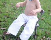Unisex White Linen Infant/Baby Pants (3-6 Months, 6-9 Months, 12 Months) Boy Girl Baby Toddler Christening Wedding Attire Pants