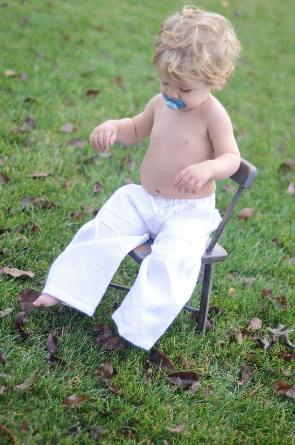 Unisex White Linen Infant/Baby Pants 3-6 Months by BoopityBoopShop