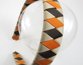 Brown and Orange Headband - Thanksgiving Headband - Fall Headband - Ribbon Woven Headband - Braided Headband - Child Teenager Adult Headband