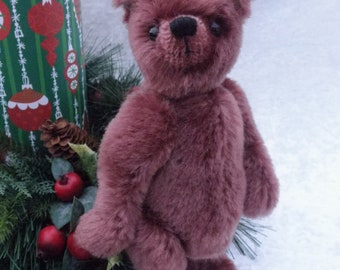 Bernice - artist mohair bear, dusty rose bear, jointed minature bear
