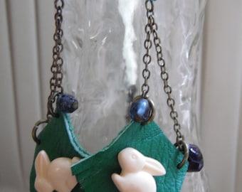Spring Rabbit Earrings/ Funky Earrings Green Leather Bunny Asymmetrical
