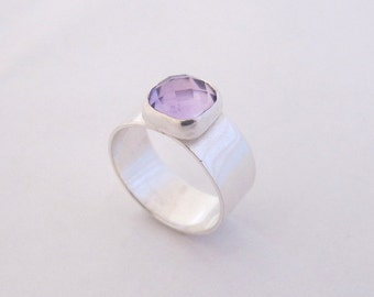 Sterling Silver ring With Amethyst Gemstone/ Amethyst Ring / Purple Stone Ring/ Wide Band