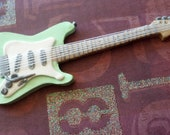 Miniature Clay Guitar Sculpture, Seafoam Green Fender complete with strings, All handmade