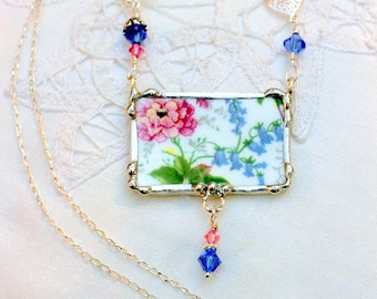 Necklace, Broken China Jewelry, Broken China Necklace, Pink and Blue Floral Chintz, Sterling Silver Chain