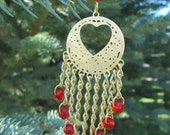 Handmade gold chain with red bead heart chandelier earrings, heart jewelry, ready to ship, gifts for women, gift wrapped, made in Montana