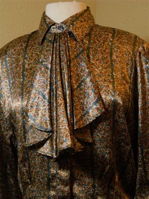 Necktie Blouse / Floral Print Blouse / Vintage 1970s Shapley Top / Mad Men Style Shirt Size Large